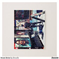 Shop Street Artist Jigsaw Puzzle created by Zinvolle. Shopping Street, Make Your Own Puzzle, Custom Gift Boxes, Street Artists, Big Picture, High Quality Images, Your Design, Jigsaw Puzzles, Vibrant