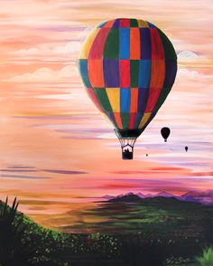Original painting of a hot air balloon flying in the sky. Created by using acrylic paint on canvas. Sketch Painting, Diy Painting, Ballon Painting, Canvas Art Projects, Simple Canvas Paintings, Air Ballon, Indian Art Paintings, Spring Art, Canvas Pictures