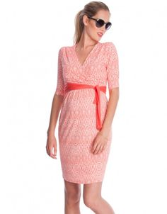 Coral Printed Maternity & Nursing Wrap Dress