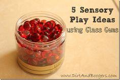 glass gems, sensory play