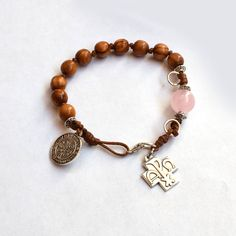 Saint Benedict Rosary bracelet, Holy land olive wood chaplet, wooden bracelet w/ gemstone quartz, Catholic jewelry, first communion gift