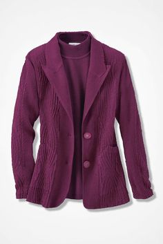 Twin Textures Sueded Jacket, Mulberry