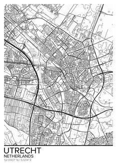Utrecht map poster print wall art, Netherlands gift printable, Home and Nursery, Modern map decor Wall Art Prints, Framed Prints, Poster Prints, Canvas Prints, Nursery Modern, Utrecht, Map Art, Wall Tapestry, Netherlands