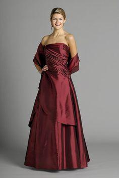 2015 Sleeveless Shawl Strapless Satin Burgundy Floor Length Mother of the Bride…