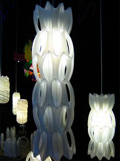 Lamp using recycled plastic bottle handles.  Pod by Heath Nash