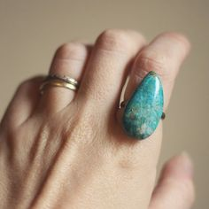 robin.  a chrysocolla stone cab ring. by RootsandFeathers on Etsy, $24.00