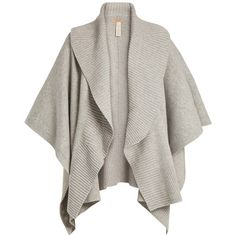 Burberry Ribbed-lapel wool and cashmere-blend poncho (9.720.015 IDR) ❤ liked on Polyvore featuring outerwear, cardigans, tops, jackets, coats, mid grey, grey poncho, burberry shawl, wool shawl and gray shawl