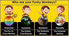 Francine, your funky monkeys are here to create chaos, anarchy and absolute mayhem in the world ! You and your friends are the funky monkeys who are going to reign terror on the world with their crazy personalities...