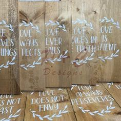 Set of 10 Wedding Aisle Signs 1 Corinthians 13 Wedding Signs | Etsy Aisle Runner Wedding, Wedding Aisle Decorations, Wedding Favours, Wedding Bible, Our Wedding, Scripture Signs, Wood Stain Colors, Love Is Patient, Wedding Welcome Signs
