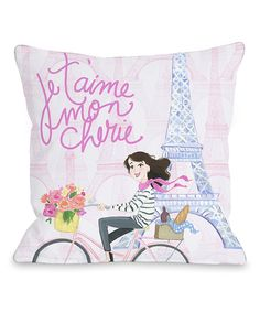 Look at this Pink 'Je T'aime Mon Cherie' Throw Pillow on #zulily today!