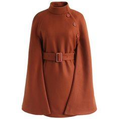 Chicwish Talkin' About Stylishness Wool-Blend Cape Coat in Caramel (740 NOK) ❤ liked on Polyvore featuring outerwear, coats, cape, brown, brown cape coat, wool blend cape, wool blend coat, wool blend cape coat and brown coat