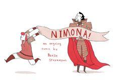 Nimona and Lord Ballister Blackheart. Art by Noelle Stevenson. Nimona is a free web comic, written and illustrated by Noelle Stevenson,. Tv Tropes, Fun Comics, Geek Girls, Weird And Wonderful, Comic Artist, Feature Film, Storytelling, The Book, Disney Characters