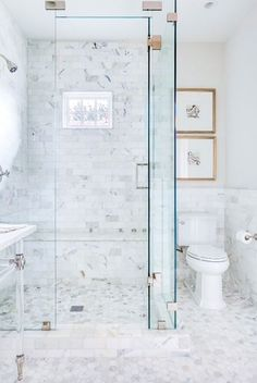 Bathroom Bliss. Walk-in shower before and after in marble white bathroom