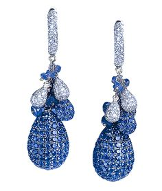 CELLINI-Blue Sapphire Drop Earrings Blue sapphire pavé drops, capped with sapphire and diamond pavé clusters, interspersed with sapphire beads; in 18-karat white gold.