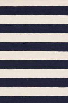 RugStudio presents Dash And Albert Catamaran Stripe Navy/Ivory Flat-Woven Area Rug