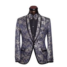 Silver & Blue Pattern Tuxedo Jacket