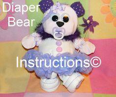 Diaper Bear INSTRUCTIONS diaper cake topper 4 baby shower gift, welcome baby, hospital gift, diy, decor. $5.99, via Etsy.