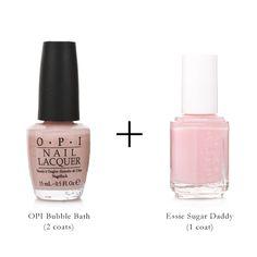 perfect pink nails // opi bubble bath + essie sugar daddy