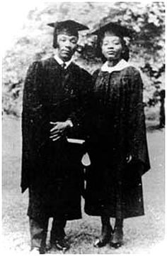 Dr. Martin Luther King, Jr., Morehouse College class of 1948, and his sister, Christine King Farris, C'48 Spelman College, Associate Professor and Director of the Learning Resources Center at Spelman College