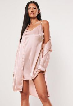 Missguided Better Together Pink Cami Duo Satin Shirt Dress Lace Top Outfits, Casual Skirt Outfits, Casual Dresses, Pink Mini Dresses, Dresses Uk, Cute Dresses, Gold Strappy Heels, Satin Shirt, Going Out Dresses