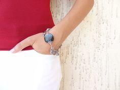 Smoky Quartz Bracelet Grey Turkish Silk Bohemian by sevinchjewelry, $32.00
