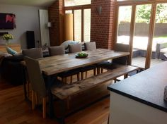 Fab to see one of our reclaimed oak dining tables in situ! #reclaimedwood #diningtable #interiors #kitchens