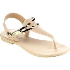 Women's Beston Sahara-01 T Strap Sandal Beige PVC