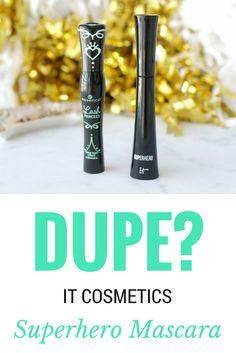 DUPE? It Cosmetics Superhero Mascara Vs. Essence Princess.  Both are good, but IT takes the cake. Essence is a good alternative