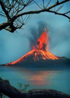 Krakatoa volcano Eruption, Indonesia.