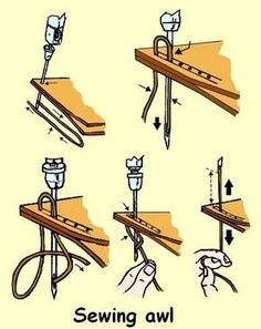 various illustrations showing the operation of the sewing awl