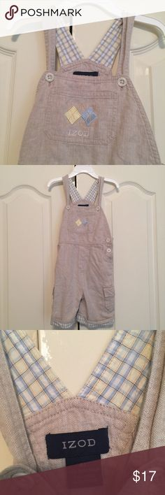 IZOD overall shorts 4T Linen and cotton, perfect for spring and summer. Blue and yellow plaid. Izod Bottoms Overalls