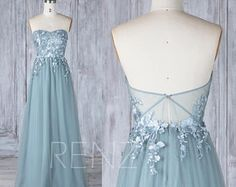 Bridesmaid Dress Dusty Blue Tulle Wedding Dress with Lace Applique,Sweetheart Strapless Maxi Dress,Illusion Lace Low Back Prom Dress(LS339)