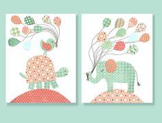 Girl Nursery Art, Aqua Coral Turtle, Elephant Nursery, Balloons, Girls Room Decor, Aqua and Coral Nursery, 8 x 10 Print, Cute Nursery Art via Etsy
