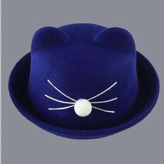1-7 year Cute Cat Ears Top Cap boy girls Fashion Vintage Jazz Bowler Felt Fedora Hat Spring Autumn Cylinder Wool Caps Bonnet