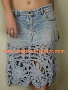 old jeans skirt made new with crochet