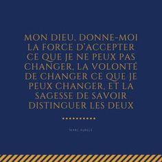 Mon Dieu, donne-moi la force d'accepter ce que je ne peux pas changer, la volonté de changer ce que je peux changer, et la sagesse de savoir distinguer les deux - Marc Aurèle