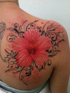 Hibiscus tattoos are a common tattoo symbol found in the Pacific. Learn about hibiscus tattoos, hibiscus tattoo designs, hibiscus tattoo meanings, and ideas. Pretty Tattoos, Love Tattoos, Beautiful Tattoos, Picture Tattoos, Body Art Tattoos, New Tattoos, Tattoos For Women, Floral Tattoos, Amazing Tattoos