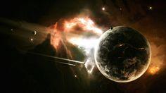 Planet Ships Nebula Stars Computer Background