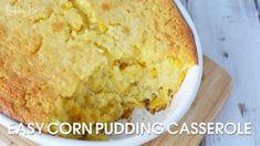 Easy Corn Pudding Casserole - BubbaPie Blueberry Scones Recipe, Banana Blueberry Muffins, Baked Banana, Strawberry Cake Mix Cookies, Strawberry Pretzel Salad, Cream Pie Recipes, Cake Mix Recipes, Easy Corn Pudding, Cracker Barrel Fried Apples