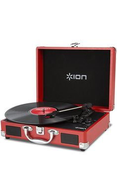 ION Audio Vinyl Motion | Portable 3-Speed Belt-Drive Suitcase Turntable with Built-In Speakers (Red) Best Price