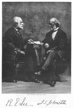 Robert E. Lee and Joseph Johnston - sat for this photograph long after the war and shortly before Lee's death.  Both were old friends before the war, attended West Point together, Lee assumed command of Johnston's army after Johnston was wounded.  I thought I'd seen every photo of Lee, but I have never seen this photo before.  Wanted to share.