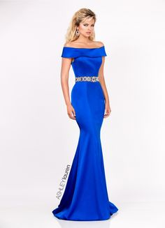 Ashley Lauren 1162 Steal the show in this off shoulder satin evening dress. The gold and rhinestone beaded belt accentuates the waist while the stretchy satin Gala Dresses, Dressy Dresses, Sexy Dresses, Nice Dresses, Club Dresses, Pageant Dresses, Stunning Dresses, Look Fashion, Ball Gowns