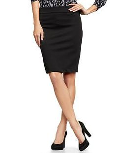Ponte pencil skirt. There is something so elegant about a pencil skirt. They are an essential piece to any wardrobe. I have an olive green high waisted pencil from Banana Republic that I've worn for years. It's a staple. Easy to dress up or down.