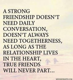 A strong friendship doesn't need daily conversation, doesn't always need togetherness, as long as the relationship lives in the heart, true friends will never part... :) xoxo