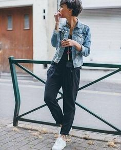 Women's Light Blue Denim Jacket, Navy Jumpsuit, White Low Top Sneakers