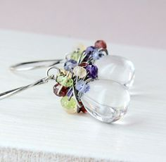 Glass And Multi Gemstone Earrings  Oxidized Silver Multi by Hildes