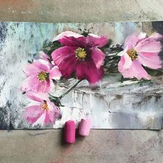Pink and purple Cosmos flowers painting in pastels.