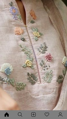 Zardozi Embroidery, Embroidery On Kurtis, Hand Embroidery Dress, Embroidery On Clothes, Embroidery Fashion, Creative Embroidery, Hand Embroidery Design Patterns, Kurti Embroidery Design, Embroidery Flowers Pattern