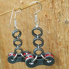 "Items similar to Recycled bike chain earrings with red ruby rhinestones ""Warm June Days"" on Etsy Bicycle Crafts, Bike Craft, Bicycle Art, Welding Crafts, Urban Jewelry, Hardware Jewelry, Bike Shed, Leather Art, Bike Parts"