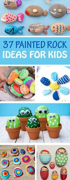 37 painted rocks for kids. Fun stone crafts: play pretend, gifts, art rocks, animal, bird and nature rocks, learning activities, people, fish and pet rocks.   at Non-Toy Gifts